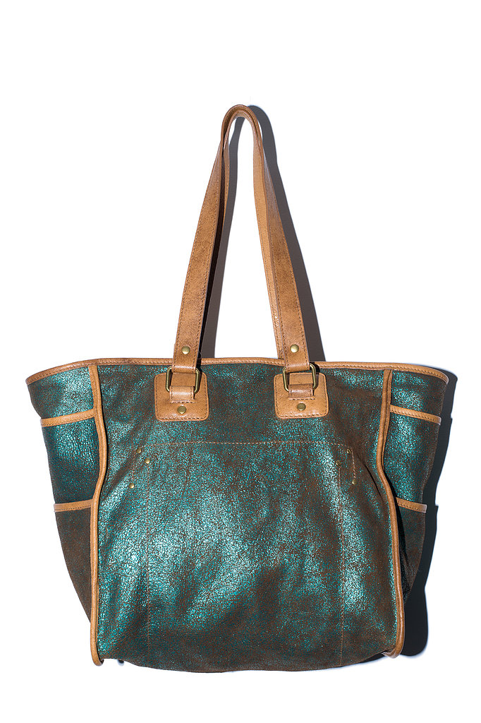 The Luka Bag in emerald lamé suede Photo courtesy of Jerome Dreyfuss