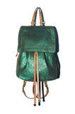 The Florent Backpack in emerald lamé suede Photo courtesy of Jerome Dreyfuss