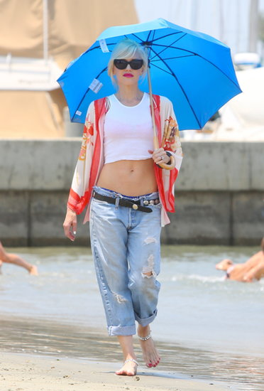 Gwen flaunted her enviable curves while strolling along the beach in Long Beach, CA, earlier this year.