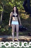 Kristen Stewart stripped down to her underwear while filming in Switzerland.