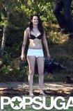 Kristen Stewart stripped down to her underwear while filming in Switzerland.
