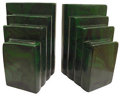 URBAGE Faux-Malachite Bookends
