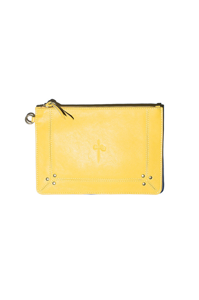 The Medium Popoche Clutch in yellow lambskin Photo courtesy of Jerome Dreyfuss