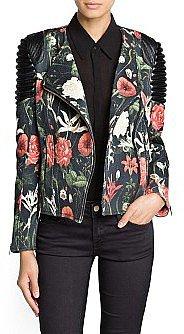 Quilted panel floral biker jacket