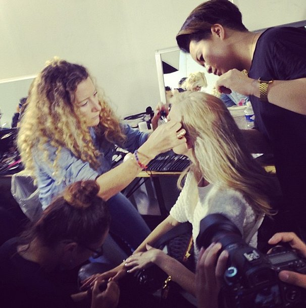 Talk about all hands on deck! Moments before the Zadig & Voltaire runway show, this model received multiple beauty services at once.  Source: Instagram user popsugarfashion