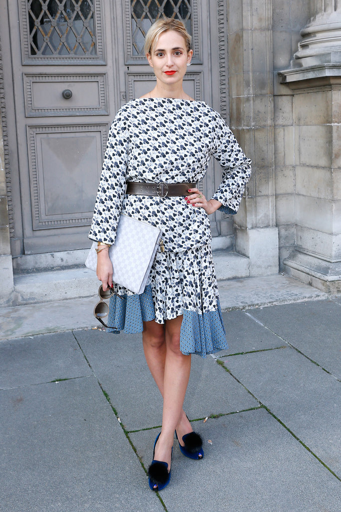 Elisabeth von Thurn und Taxis arrived for the Louis Vuitton runway show in a bold print.