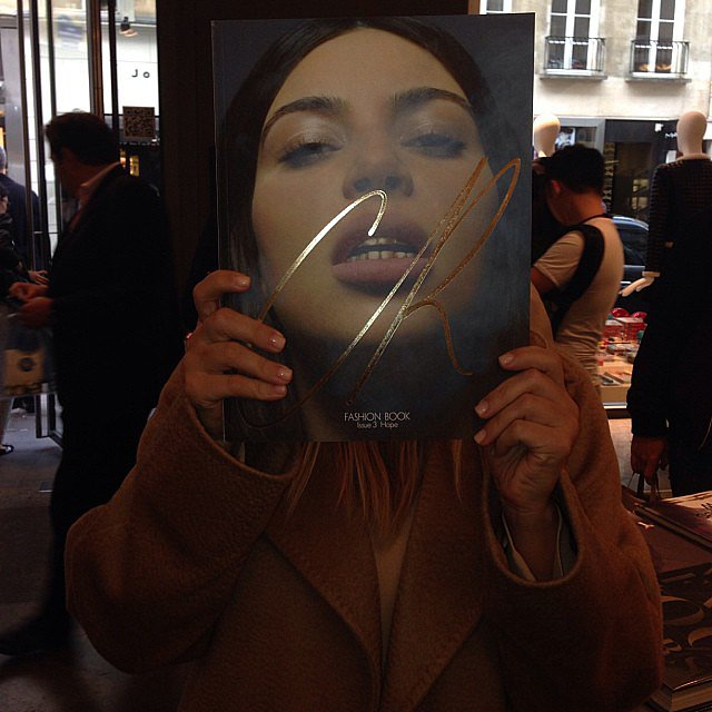 "Kim Kardashian was ""feeling big headed"" while showing off her CR Fashion Book cover issue in Paris. Source: Instagram user kimkardashian"