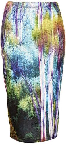 Forest Blur Print Tube Skirt