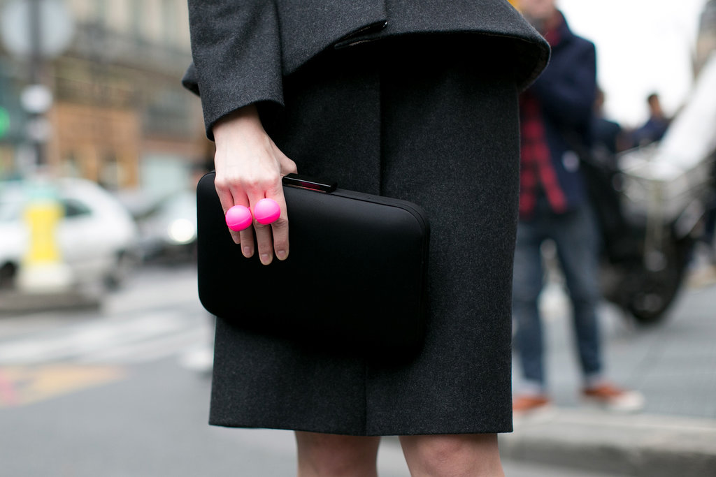 Bold jewels look that much bolder against all black.