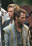 Chris Pine and Billy Magnussen stepped into their role as a princes for the UK filming of Into the Woods on Thursday.
