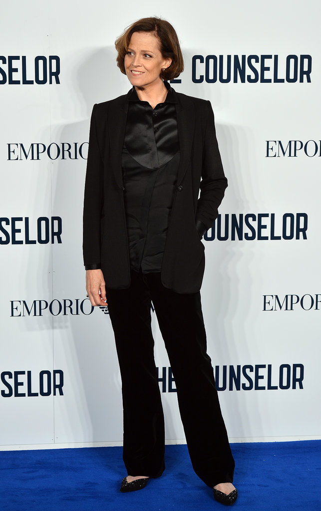 Sigourney Weaver wore a black pantsuit to The Counselor's London premiere.