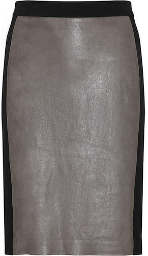 DKNY Ponte-paneled leather skirt