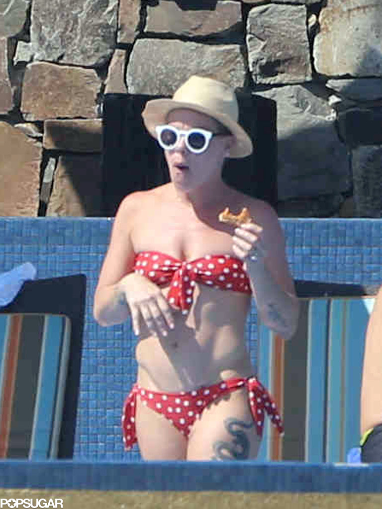 Pink wore a polka-dot bikini in Cabo.