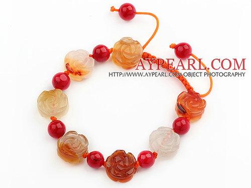 Flower Shape Natural Color Agate and Round Alaqueca Knotted Adjustable Drawstring Bracelet