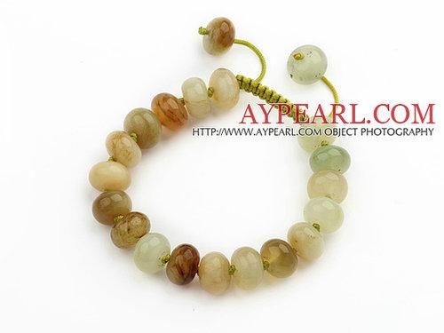 Marquise Shape Three Colored Jade Knotted Adjustable Drawstring Bracelet