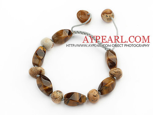 Brown Series Tiger Eye and Picture Jasper Knotted Adjustable Drawstring Bracelet