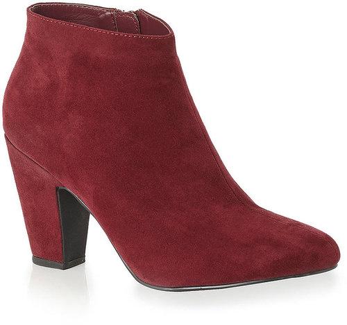 Burgundy Chunky Heel Ankle