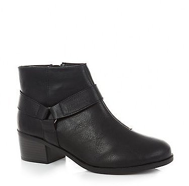 Black Low Block Heel Ankle Boots