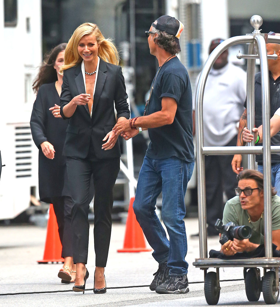 Gwyneth Paltrow laughed while filming on the street.