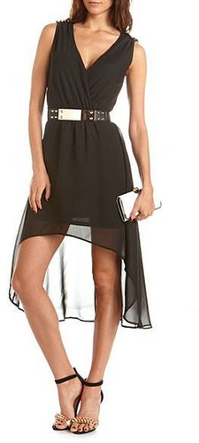 Belted Stud Shoulder Hi-Low Dress