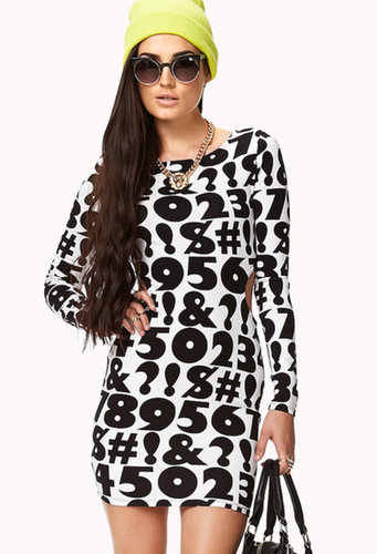 FOREVER 21 Numbers Game Bodycon Dress