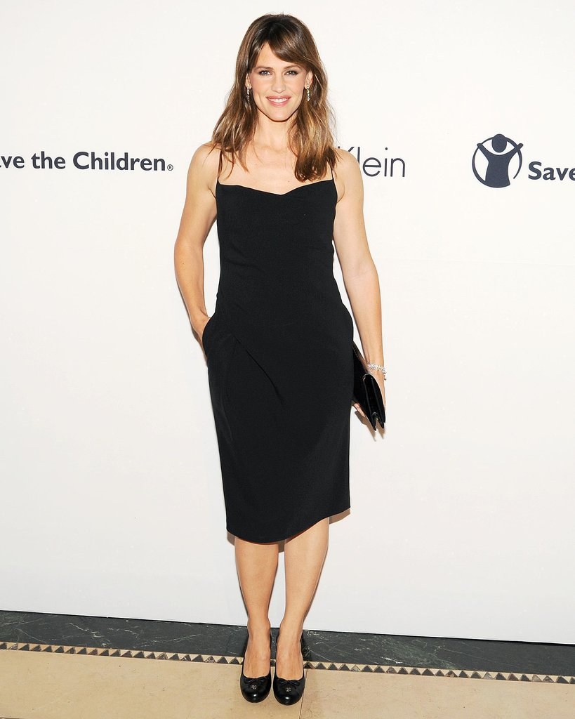 Need another reminder that there's nothing chicer than a simple black dress? Jennifer Garner proved the point beautifully in a simple, skinny-strap Calvin Klein Collection dress and noir accessories.