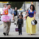 Jon Stewart took his family trick-or-treating in NYC in 2009.