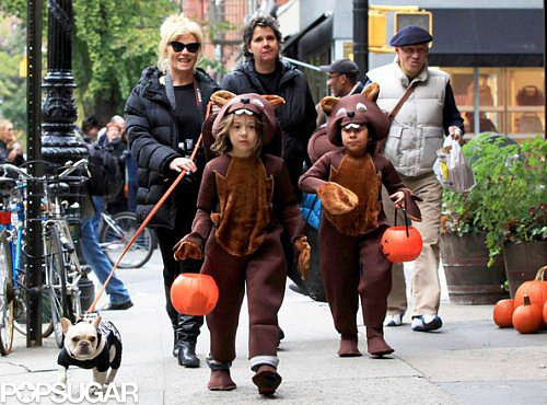 Hugh Jackman's wife, Deborra-Lee Furness, went out with dressed-up kids Ava and Oscar in 2011.