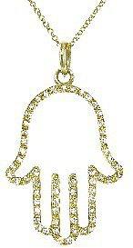 Jennifer Meyer Open Hamsa Hand Pendant with Diamonds - Yellow Gold