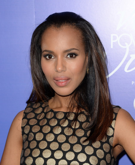 Kerry Washington looked darling with straight hair and metallic eye shadow.