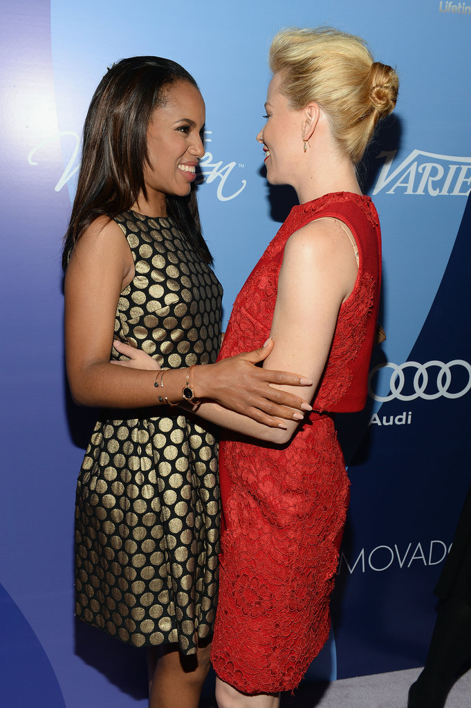 Elizabeth Banks and Kerry Washington embraced as they arrived.