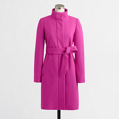 Factory belted wool-cashmere funnel coat