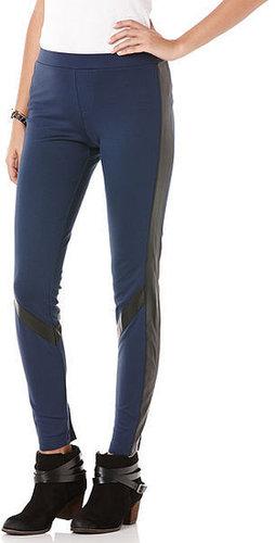 Scuba legging with faux leather detail
