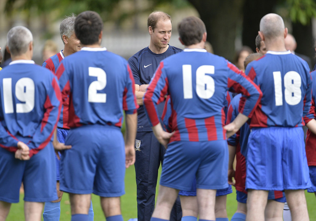 Prince William talked with the soccer players.