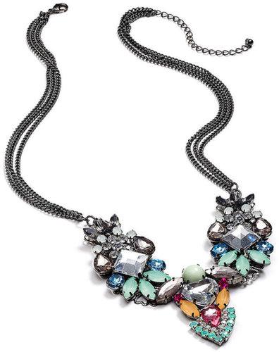 Bar III Necklace, Hematite-Tone Multi-Crystal Stone Statement Necklace