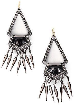 Alexis Bittar Black Onyx, Marcasite and Lucite Fringe Earrings