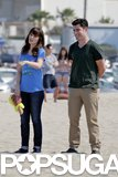 Max Greenfield and Zooey Deschanel hit up an LA beach to film New Girl.
