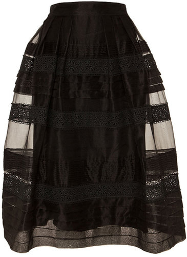 Temperley London Pleats And Lace Skirt