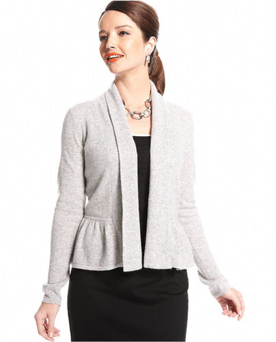 Charter Club Sweater, Long-Sleeve Peplum Cashmere Cardigan