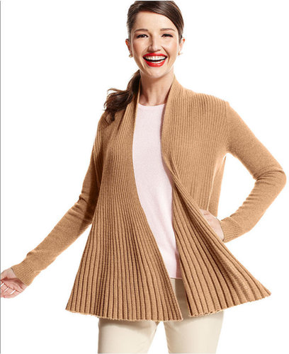 Charter Club Sweater, Long-Sleeve Ribbed Open-Front Cashmere Cardigan