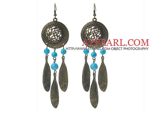 Vintage Style Turquoise and Leaf Shape Metal Earrings