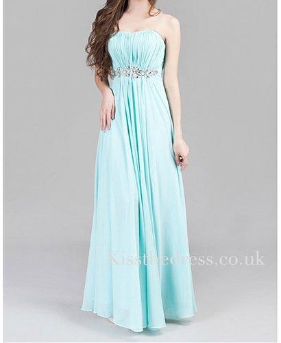 Ice Blue Chiffon Strapless Empire Long Evening Dress XZ006