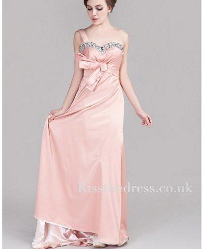 Pink Meat Satin One Shoulder Sweetheart Long Evening Dress XZ019