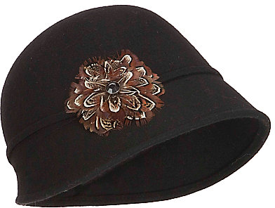 John Lewis Feather Embellished Cloche Hat, Black