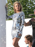 Kate Hudson sported a sexy silver dress for the LA photo shoot.