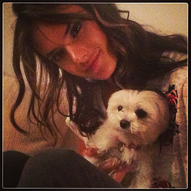 Alessandra Ambrosio cuddled her little dog, Lola. Source: instagram user alessandraambrosio