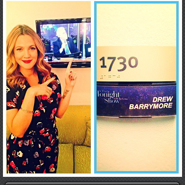 Drew Barrymore hung out in her green room before making an appearance on the Tonight Show With Jay Leno. Source: Instagram user drewbarrymore