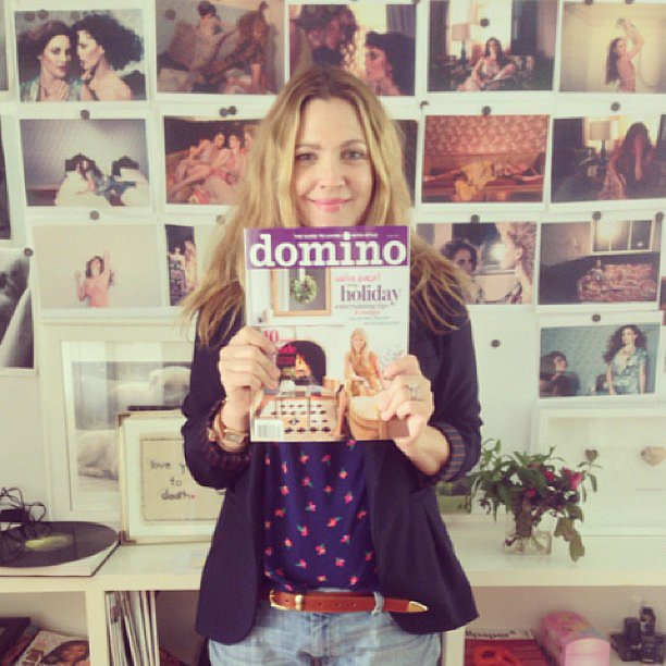 Drew Barrymore showed her excitement for the return of Domino magazine. Source: Instagram user drewbarrymore