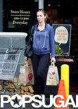 Emily Blunt's baby bump could be seen under her sweatshirt.