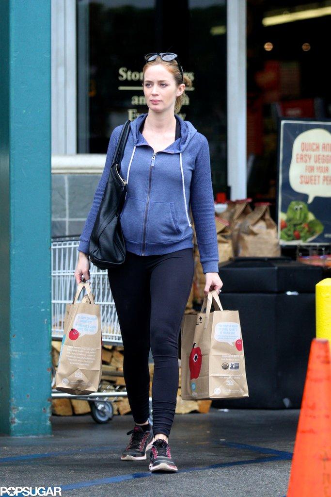 Emily Blunt left an LA grocery store.